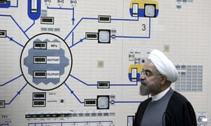 President Hassan Rouhani visits the Bushehr nuclear power plant just outside of Bushehr, Iran, in this 2015 file photo released by the Iranian President's Office.