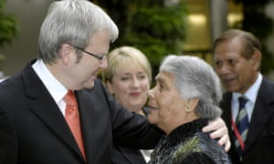 Kevin Rudd greets the first chair of the Aboriginal and Torres Strait Islander Commission, Lowitja O'Donoghue, at Parliament House in 2008