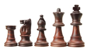 Chess pieces in a row from castle to king