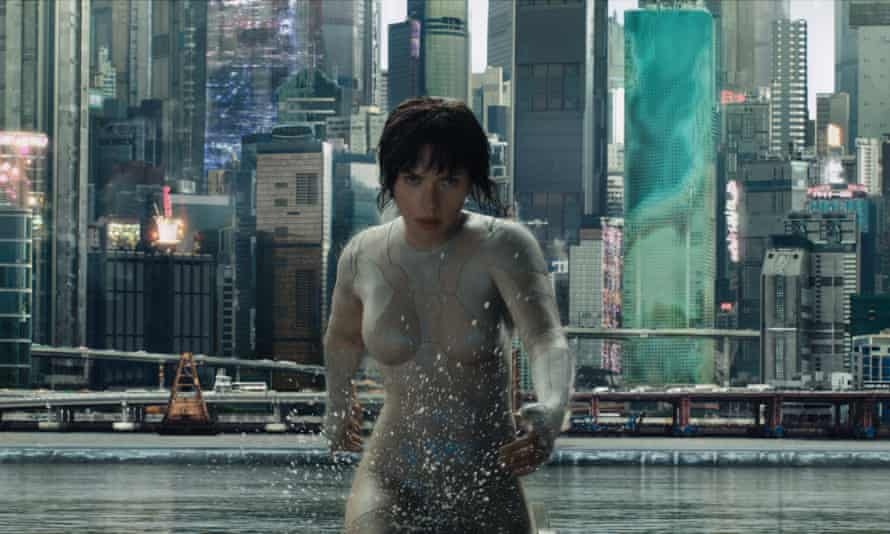 Johansson as Major in Ghost in the Shell