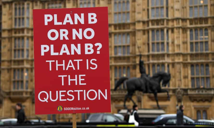 A pro-EU placard waved outside the Houses of Parliament on Tuesday.