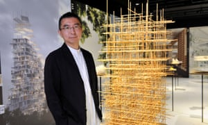 Sou Fujimoto with one of 100 exhibits on display at Japan House in London.