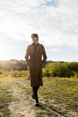 Wool felt brown coat, shirt, trousers and boots all from a selection, lanvin.com