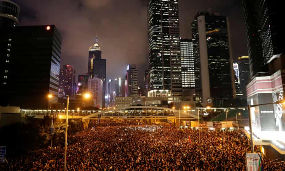 Hong Kong's streets were packed with protesters on Sunday calling for the total withdrawal of a controversial extradition law.