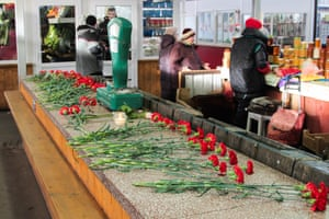 Flowers are laid in the central market in Kaliningrad, Russia