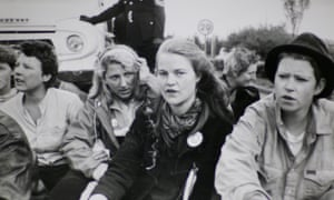 'Three of us occupied Greenham's air traffic control tower for hours' ... Rebecca Johnson (centre).