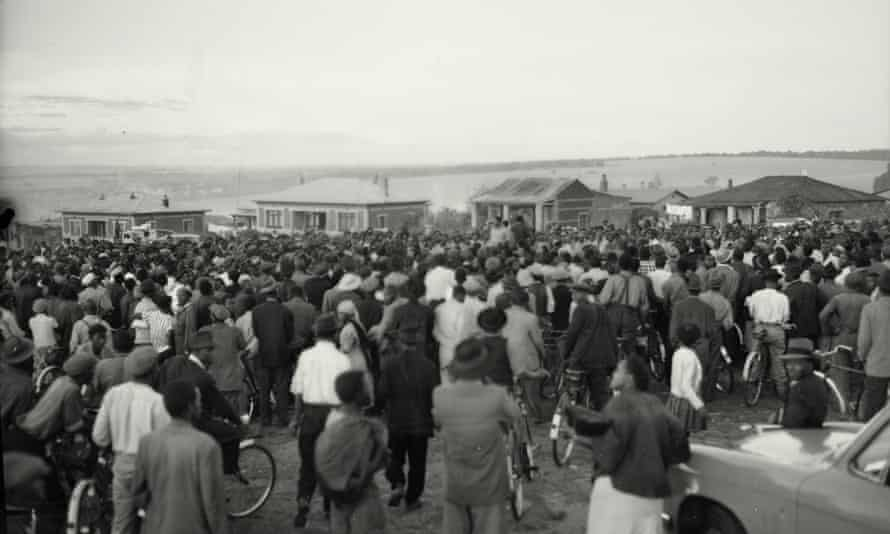 Residents of Alexandra Township meet to discuss matters related to a 1957 boycott of bus services