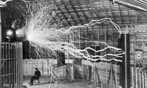 A photograph of electrical engineer Nikola Tesla in his lab in 1901.