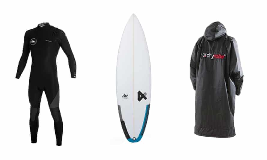 From left: Quiksilver AG47 zipperless wetsuit, £180, quiksilver.co.uk; Fourth Surfboards Mad Fresh board, £450, store.magicseaweed.com; Dryrobe advance long-sleeve changing robe, £130, dryrobe.com