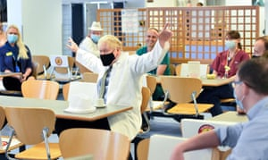 Boris Johnson during his visit to Royal Berkshire NHS Hospital in Reading to mark the publication of a new review into hospital food.