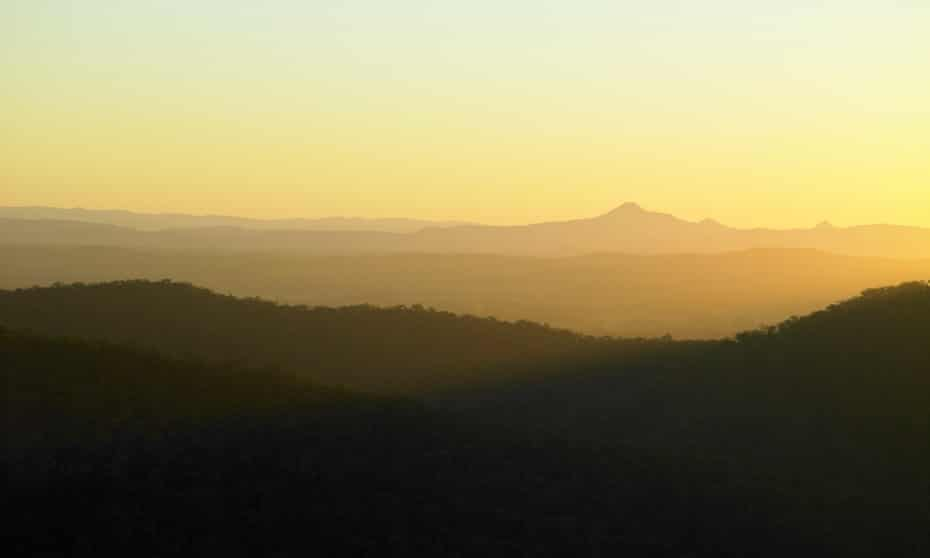 A ray of light over bushlands and mountains in Mount Tamborine