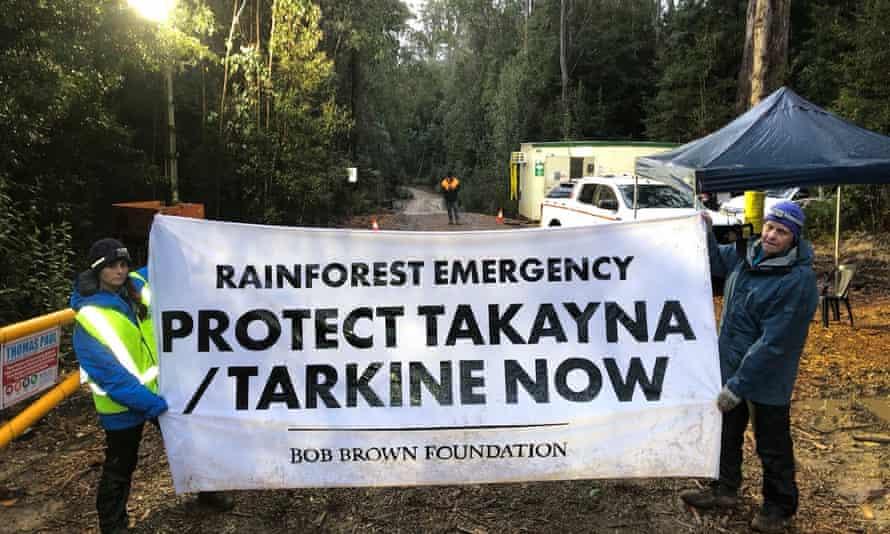 Protesters near the proposed tailings dam site in Tasmania's takayna/Tarkine wilderness in June.