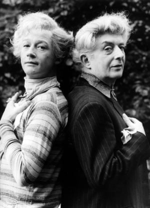 John Hurt (left) who played Quentin Crisp (right) in The Naked Civil Servant.