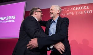Newly elected Labour deputy leader Tom Watson, left, embraces newly elected leader Jeremy Corbyn.