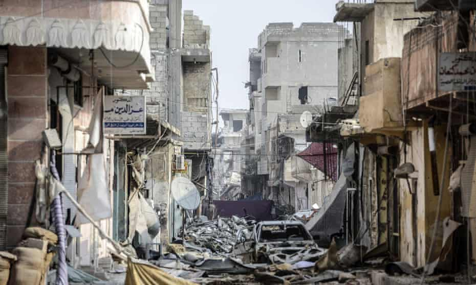 The Syrian town of Kobane after the Kurds' battle with Isis.
