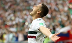 Javier Hernandez of Mexico celebrates after scoring his team's second goal
