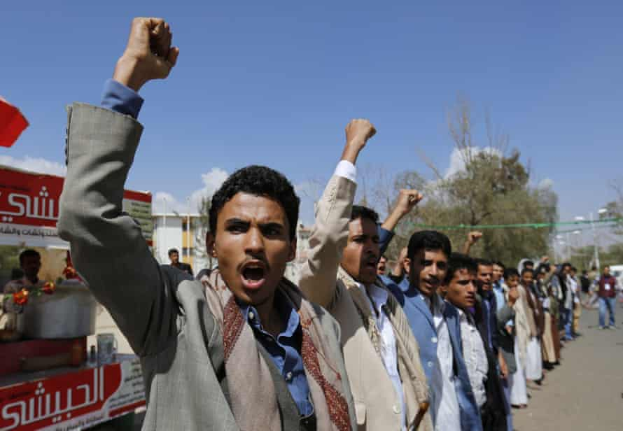 Yemenis chant anti-Saudi slogans during a protest against the recent Saudi-led airstrikes.