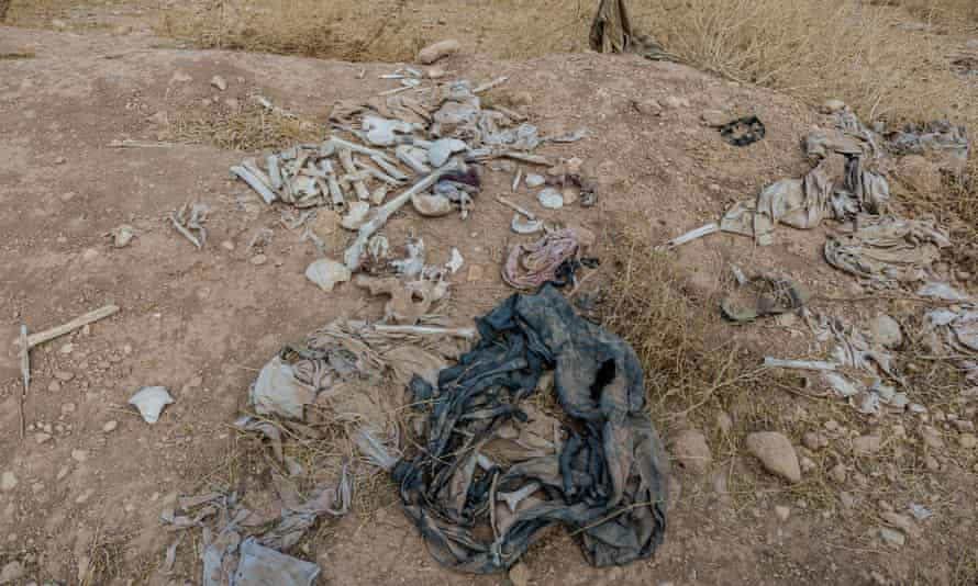 A mass grave where 300 Yazidi are believed to be buried.