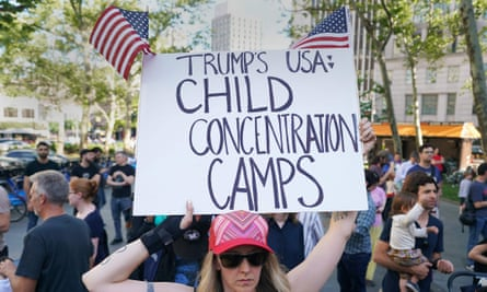 A protest in New York against the separating of children from their families while crossing the US border illegally, 14 June 2018.