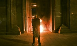 Artist Pavlensky setting the Federal Security Service headquarters in Moscow on fire in November.
