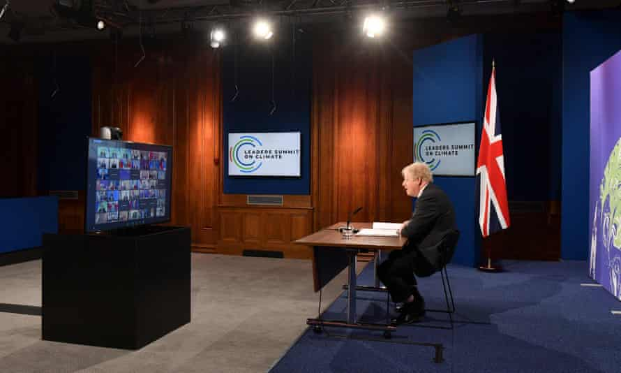 Boris Johnson speaks during the opening session of the virtual US leaders summit on climate