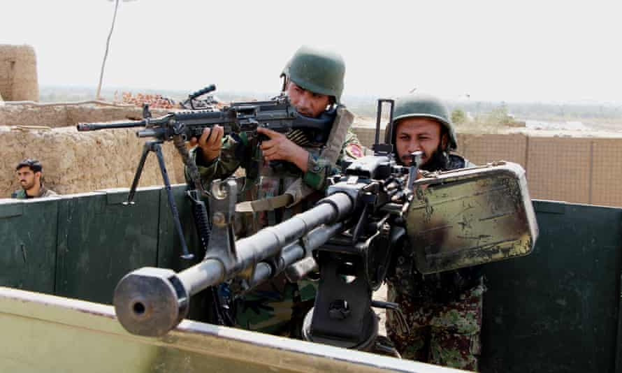 Afghan security force members taking part in a military operation against Taliban militants in Kunduz in September.