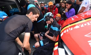 Chris Froome in pain after stage 11 of the Vuelta.