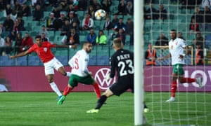Marcus Rashford scores England's first goal after seven minutes