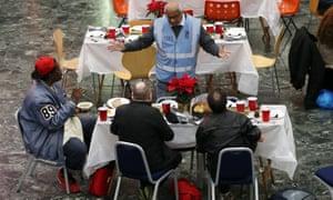 Network Rail volunteers serve Christmas dinner at London Euston