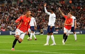 Spain's Rodrigo celebrates scoring.