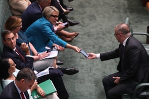 Opposition leader Anthony Albanese talks to Tanya Plibersek during question time