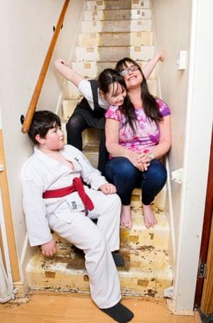 Rachel Cotton with her children Deborah (nine) and Michael (seven)
