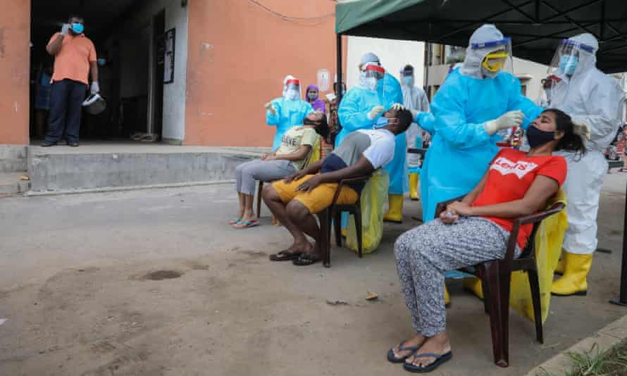 People undergo Covid-19 swab tests in Colombo, Sri Lanka.