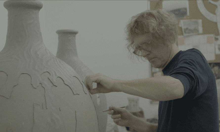 Grayson Perry working on his 'leave pot' for the Channel 4 programme What Britain Wants