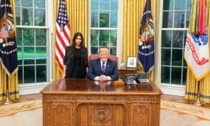 Kim Kardashian and Donald Trump at the White House