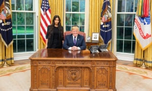 Kim Kardashian-West and Donald Trump at the White House.