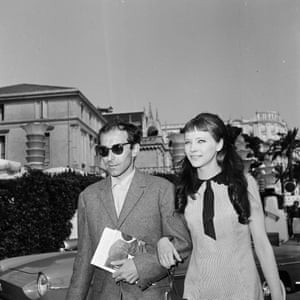 Jean-Luc Godard and Anna Karina at the 1963 Cannes film festival