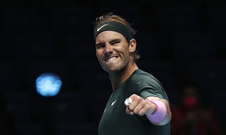 Rafael Nadal celebrates his hard-fought victory over Stefanos Tsitsipas to reach his sixth semi-final at the ATP World Finals.