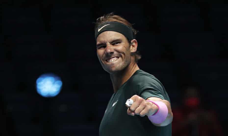 Rafael Nadal celebrates his hard-fought victory over Stefanos Tsitsipas to reach his sixth semi-final at the ATP World Finals.