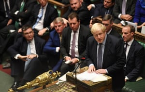 Britain's PM Johnson speaks ahead of losing a vote on his renegotiated Brexit deal