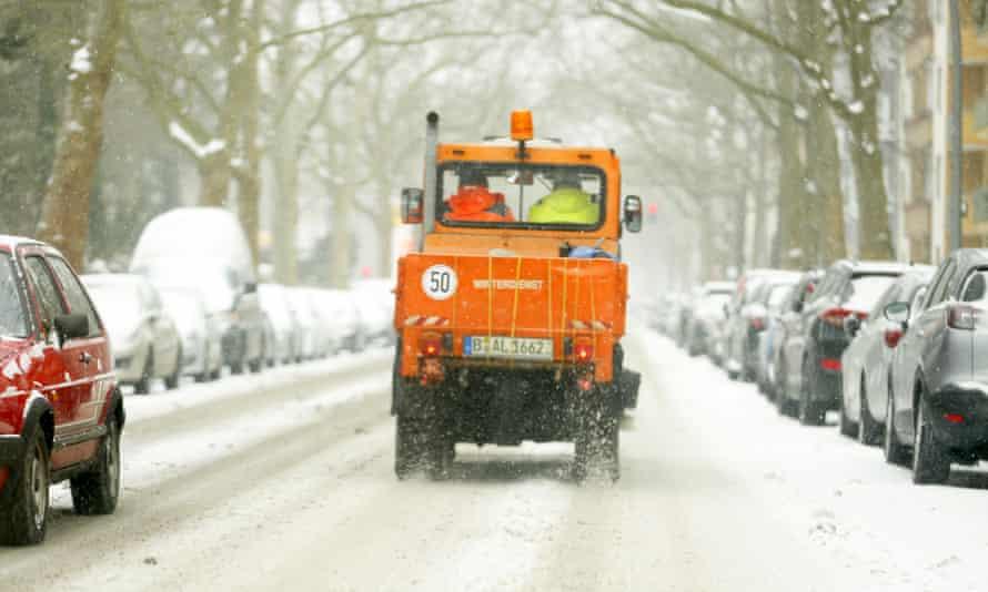 Heavy snowfall in Berlin.
