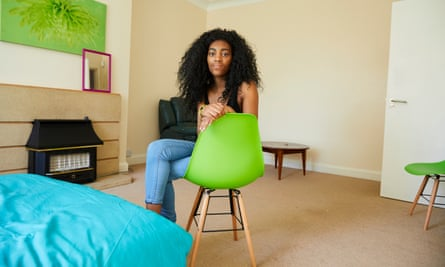 Tia Spencer in her rented house.