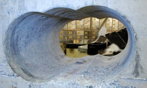 The hole drilled through a concrete wall to access the Hatton Garden vault.