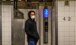 A mask wearer in the New York subway.
