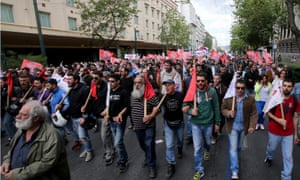 Demonstrators protest against reforms on the pension and the tax system by the Greek government.