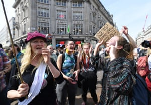 Climate change protests at Oxford Circus