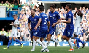 bf7a9f6d61b Chelsea s Eden Hazard (far left) celebrates completing his hat-trick from  the penalty