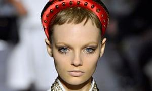 Love me do: 60s-style lashes on the Prada runway at Milan Fashion Week.