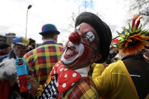 Clowns and entertainers gather for an annual service of remembrance in honour of British clown Joseph Grimaldi at All Saints Church in Haggerston, London