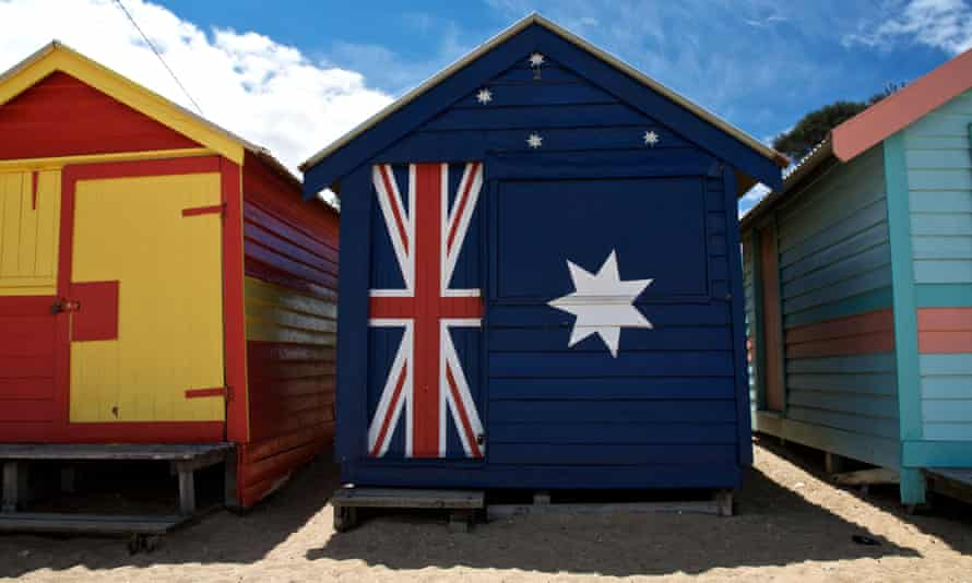 A beach hut decorated with the Australian flag in Melbourne